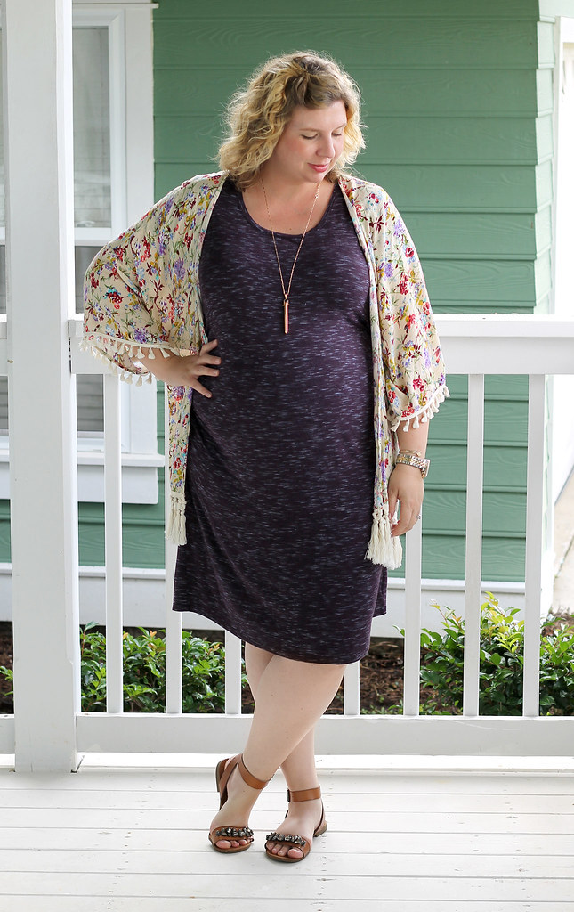 purple maternity dress and cream floral kimono 1