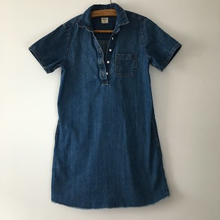 Lengethening a denim dress (before photo) | EvinOK.com