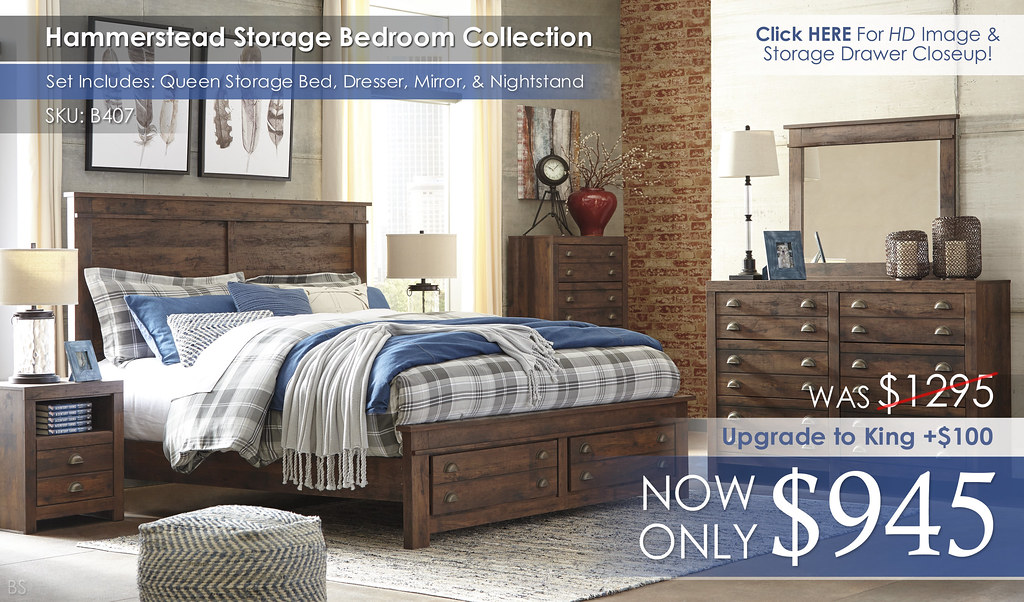 Hammerstead Storage Bedroom Set B407-31-36-44-58-56S-95-91-Q278