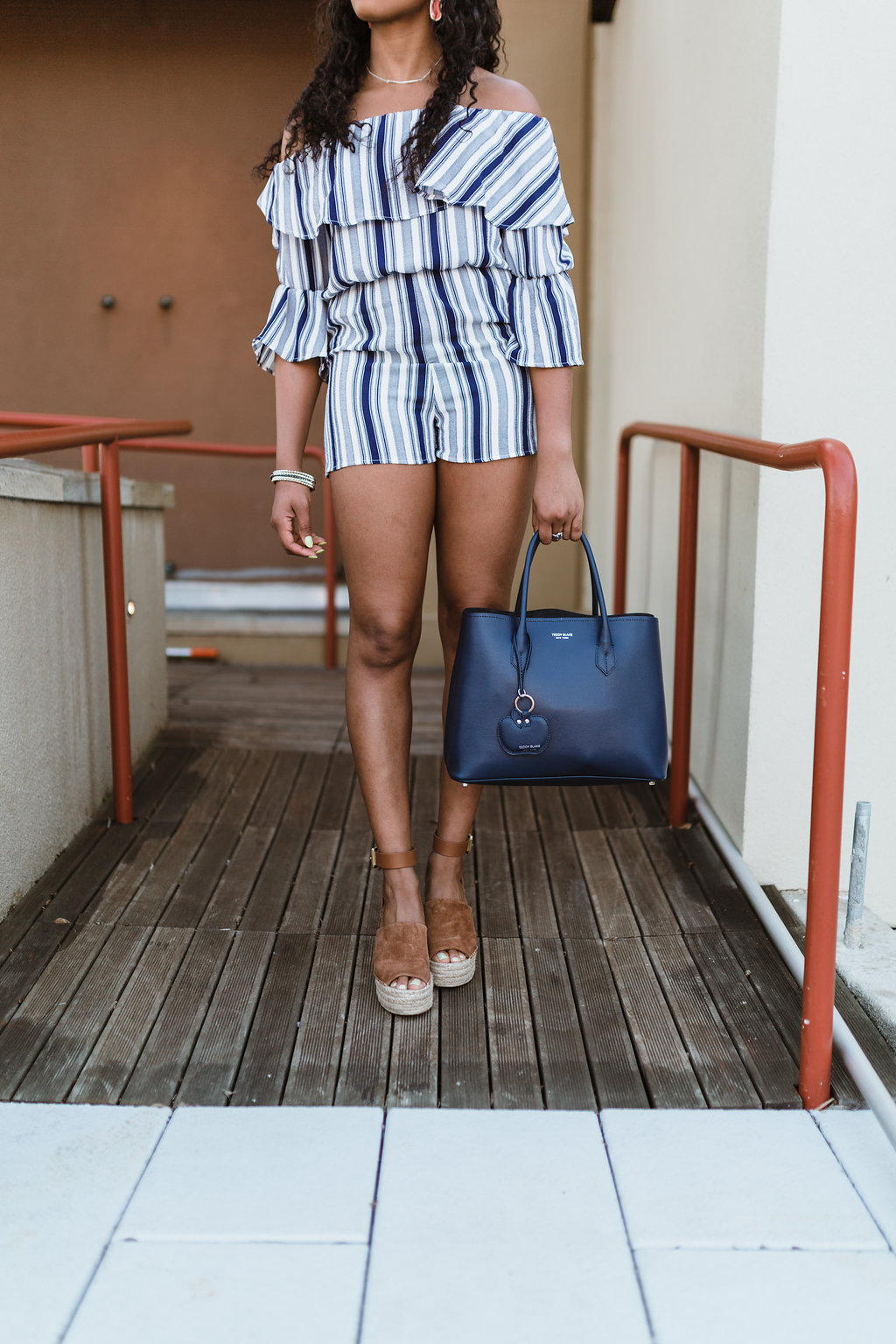 striped off the shoulder romper, the beauty beau