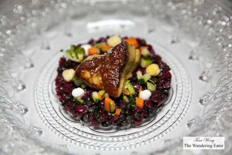 Foie gras, red and black lentils salad with vegetables