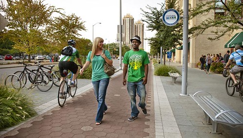 Indianapolis Cultural Trail, pedestrians and bicyclist, and bicycles