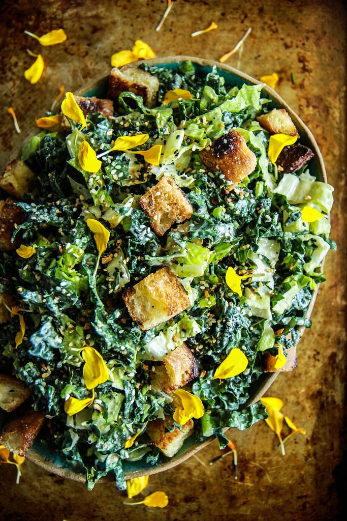 Vegan Kale Ceasar Salad from HeatherChristo.com