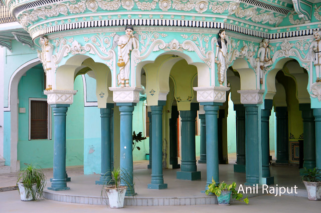 Pillars , Shekhawati and Italian style , haveli at Churu
