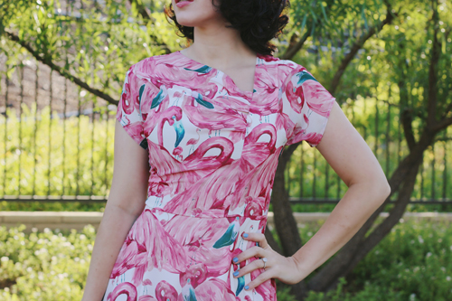 Unique Vintage 1940s Pink Flamingo Amelia Cap Sleeve Swing Dress