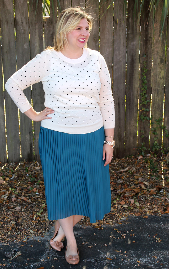 teal midi, polka dot tippi and bow flats 5