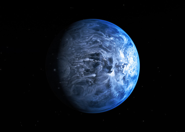 Artists impression of the deep blue planet HD 189733b