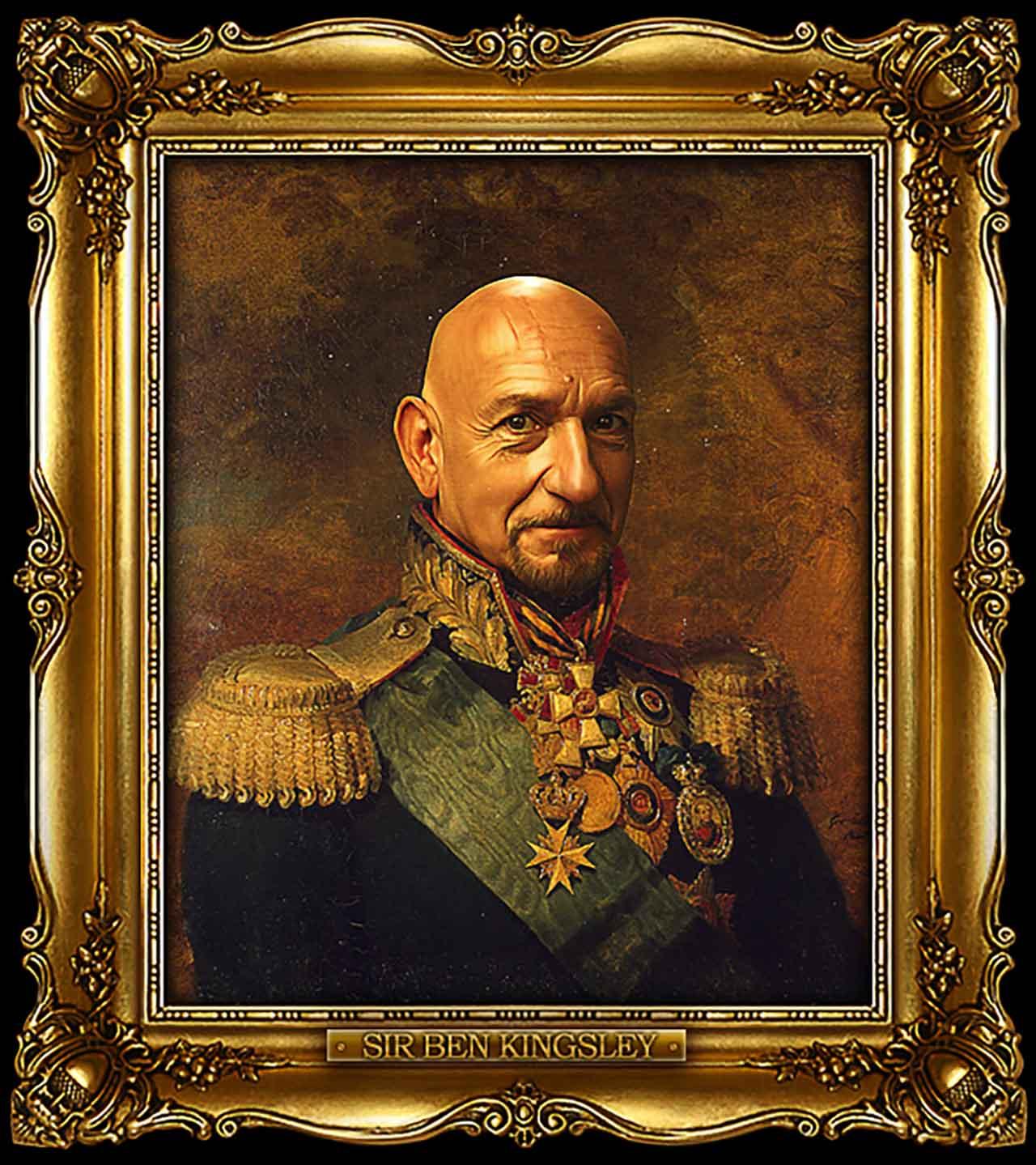 Artist Turns Famous Actors Into Russian Generals - Sir Ben Kingsley