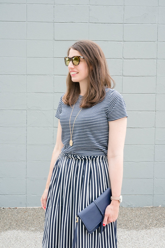 navy stripe tee + J.Crew navy striped skirt + coin necklace + Fossil hybrid watch | Style On Target blog