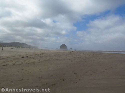 Haystack Rock looks a long distance away from the beginning of the hike, Cannon Beach, Oregon
