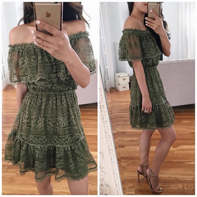 off shoulder lace fit flare summer dress