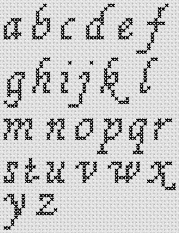 Preview of Cross Stitch Patterns: A to Z Alphabet Sampler Patterns (Small Letter Cursive)