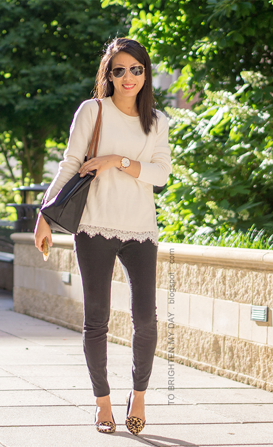 white sweater with lace hem, oversized watch, black skinny jeans, black tote, leopard flats