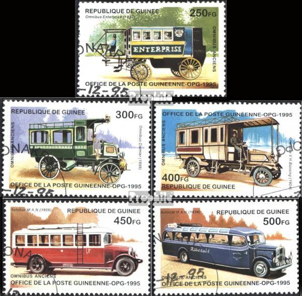 Známky Guinea 1995 Staré autobusy, razítkovaná séria