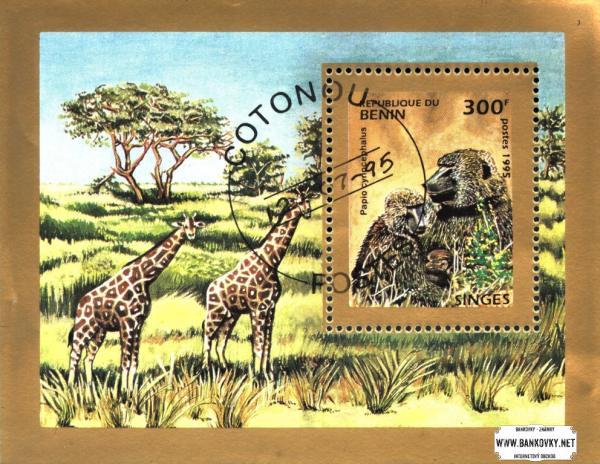 Známky Benin 1995 Africké opice, razítkovaný hárček