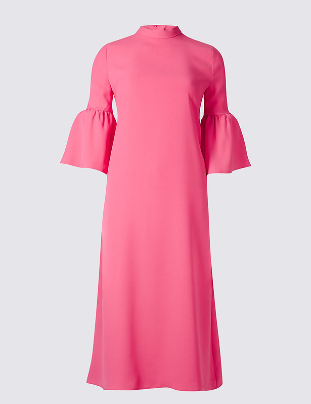 m and s pink ruffle dress
