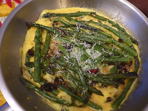 omelette asperges pancetta pecorino