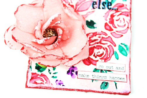 Meihsia Liu Simply Paper Crafts Mixed Media Tag Corage Rose Stencil Simon Says Stamp Tim Holtz 5