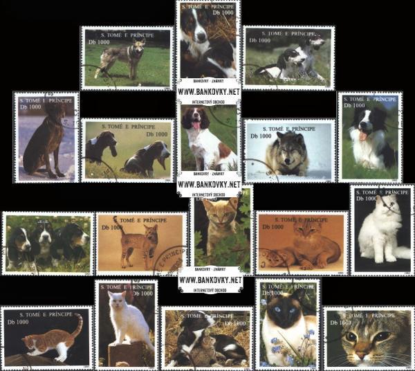 Známky Svätý Tomáš 1995 Psy a mačky, razítkovaná séria