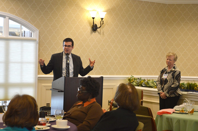 GenMtgMayLunch2017_0057; Dr. Gregory Geehern answering questions from the audience.