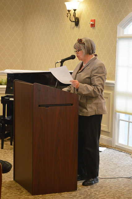 GenMtgMayLunch2017_0024; President Kathy Hutchins give her annual report.