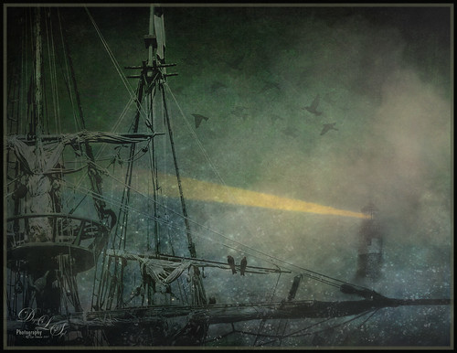 Composite image of the Golden Hinde in a fog