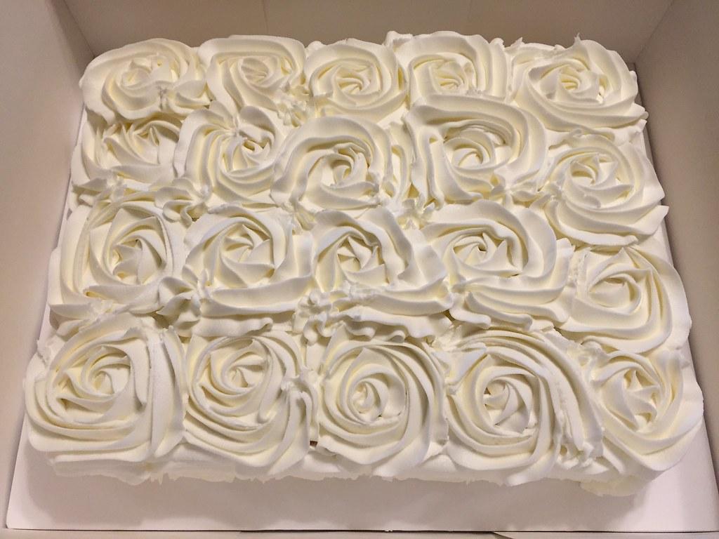 white rosette bridal shower cake by dms81