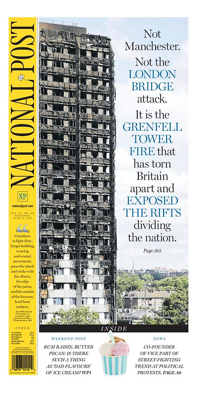 National Post (Canada) Front Page, 6/17/2017, on the Grenfell Tower fire