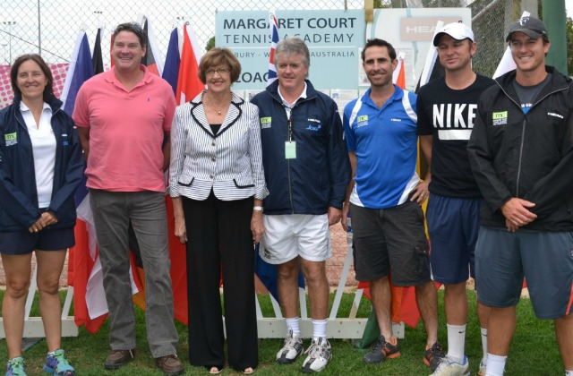Margaret Court and Phil Shanahan - centre - at Margaret Court Tennis Academy