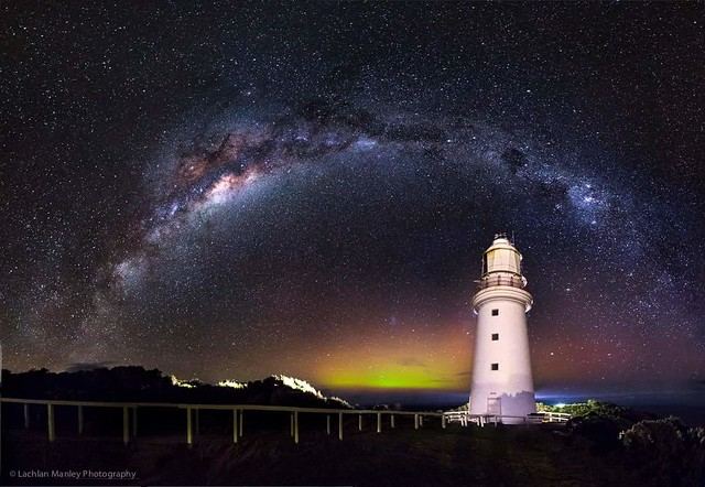 Cape Otway Lighthouse Under the Milkyway Featuring A Small Aurora