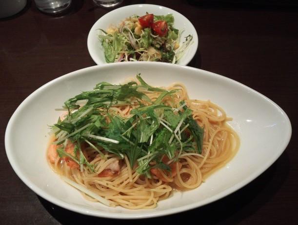 水菜のパスタ ベビーフェイスのランチ