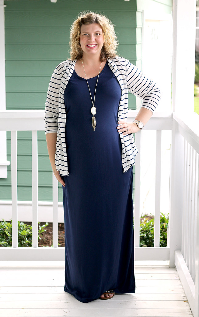 navy maternity maxi dress and white and navy striped cardigan 6