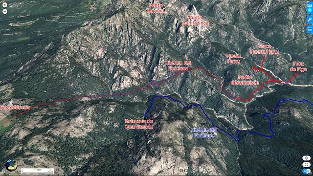 Carte 3D du ruisseau du Finicione avec les différents lieux et parcours en rives droite et gauche