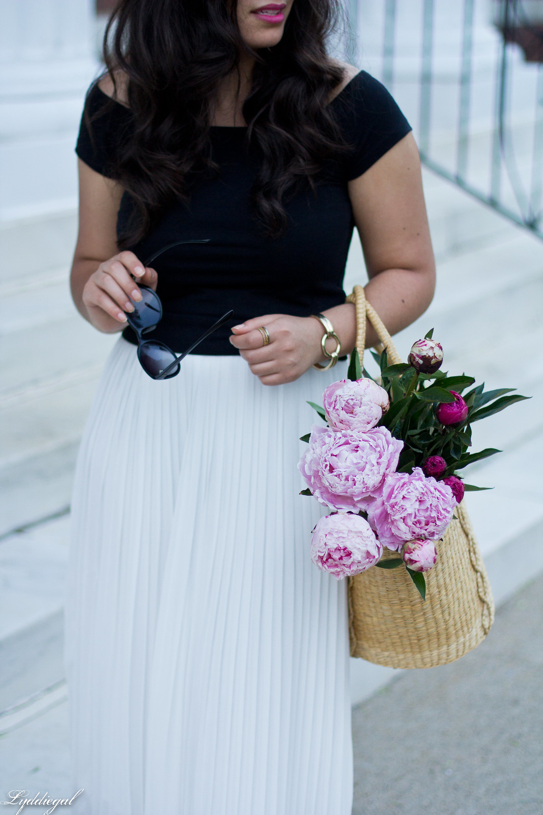 white pleated skirt, black off the shoulder tee, Soak sandals-17.jpg