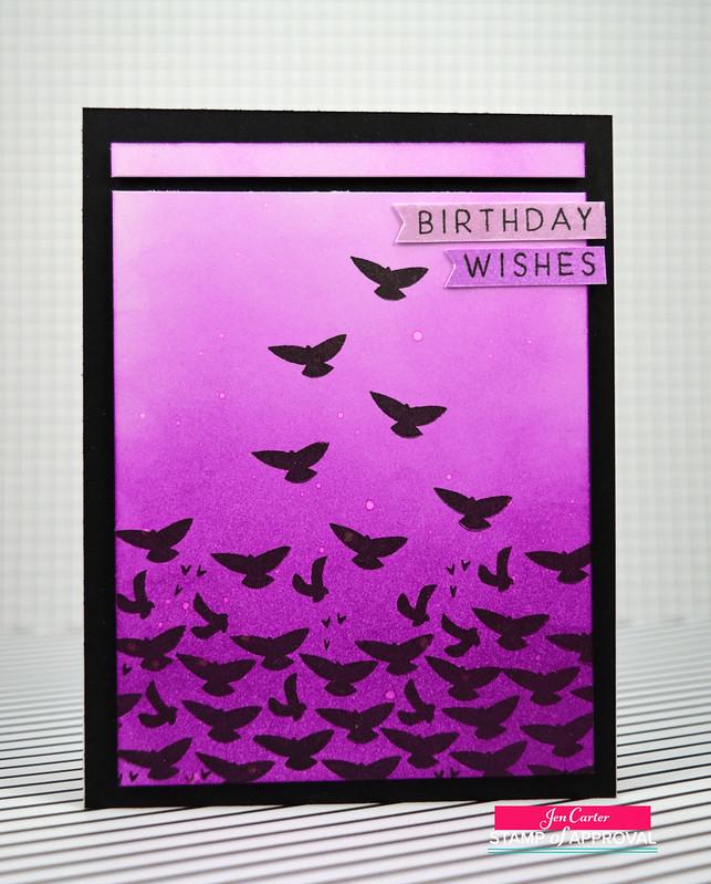 Jen Carter Ombre Birds Birthday Front wm