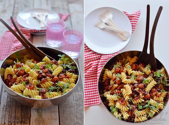pasta fredda con pomodori confit, capperi,olive e shiso