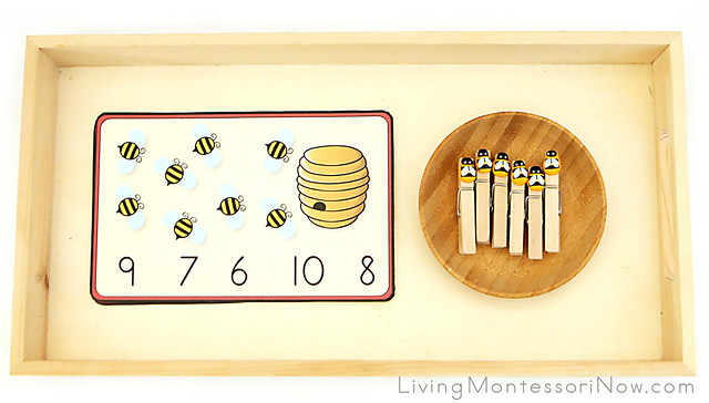 Bee Clothespin Count-and-Clip Cards