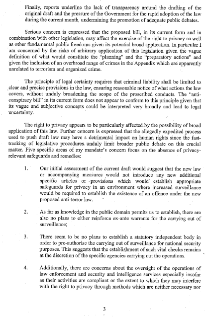 「Mandate of the Special Rapporteur on the right to privacy」(3/5)