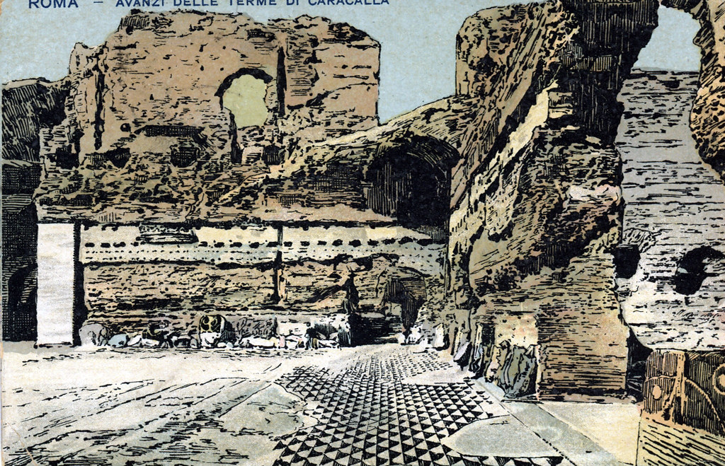Illustration des thermes de Caracalla à Rome.