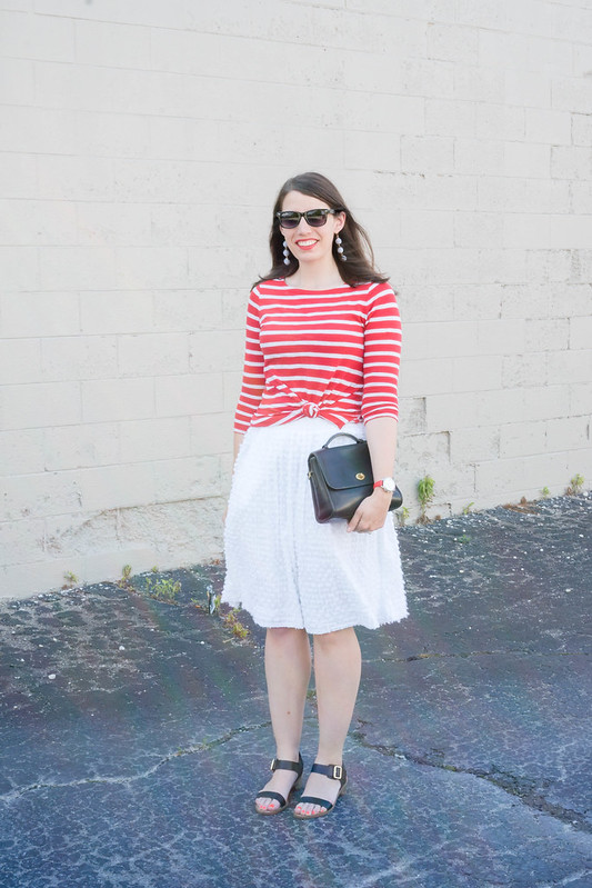 red striped tee + white midi skirt + stripe drop earrings + black heeled sandals; summer outfit | Style On Target blog