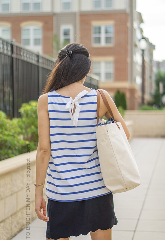 striped tie back sleeveless top, navy skirt with scallop hem, canvas tote