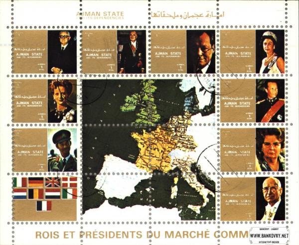Známky Ajman 1972 Hlavy štátov, razítkovaná séria