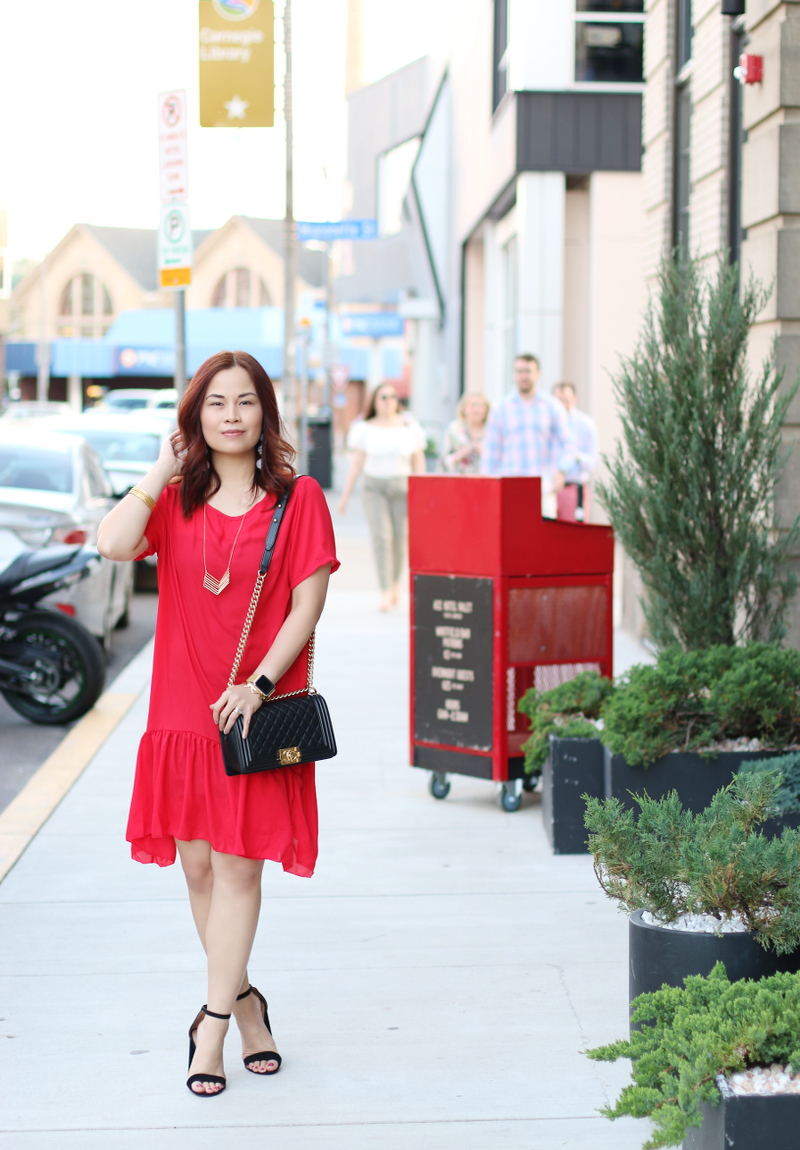 romwe-red-dress-chanel-bag-black-strap-sandals-1