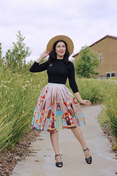 Vintage Inspired by Jackie Small World Inspired Border Print Full Skirt