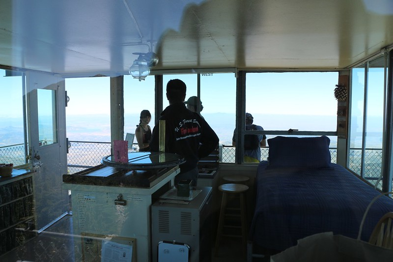 Looking in through the window of the Black Mountain Fire Tower