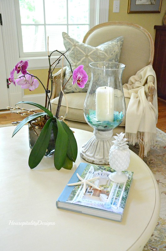 Great Room table vignette-Housepitality Designs