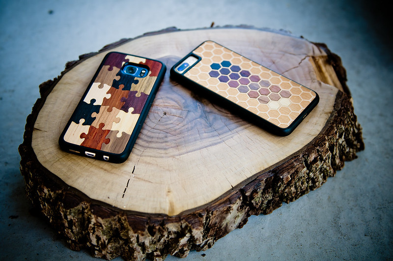 carved wood phone case