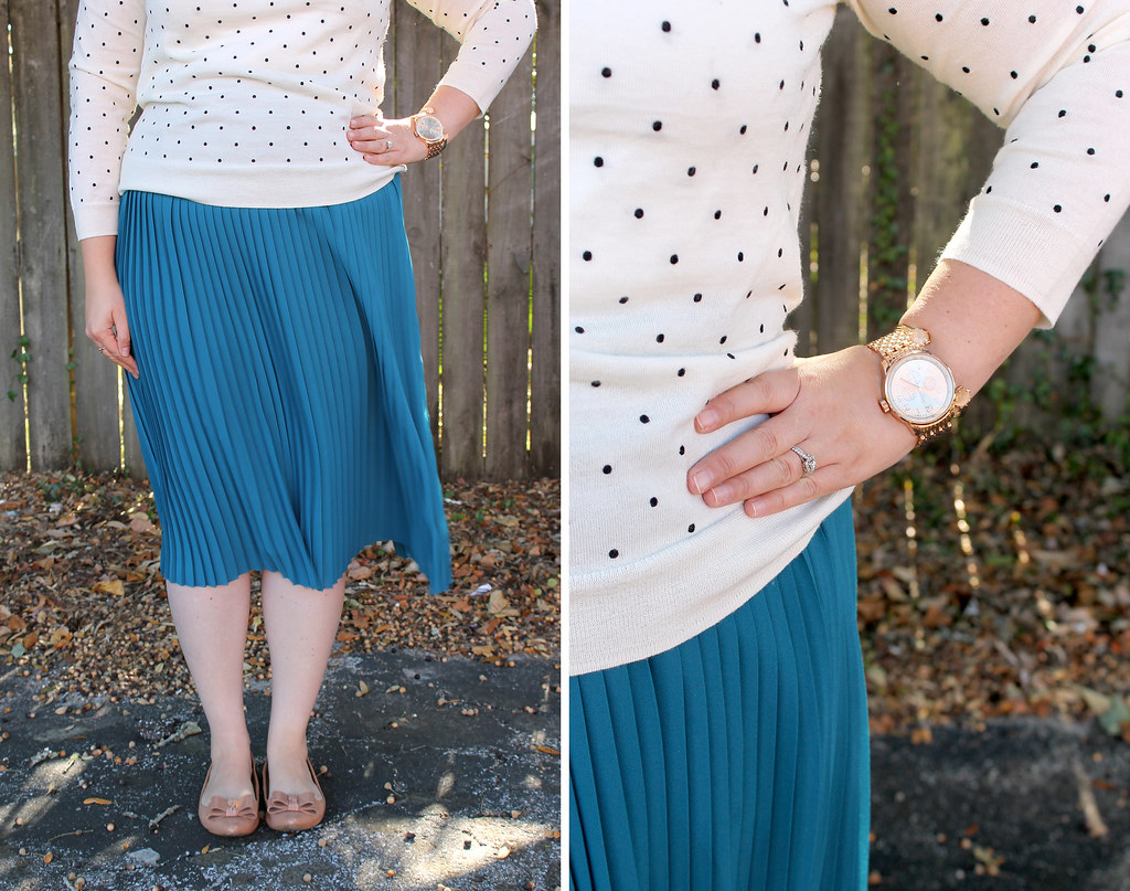 teal midi, polka dot tippi and bow flats 7
