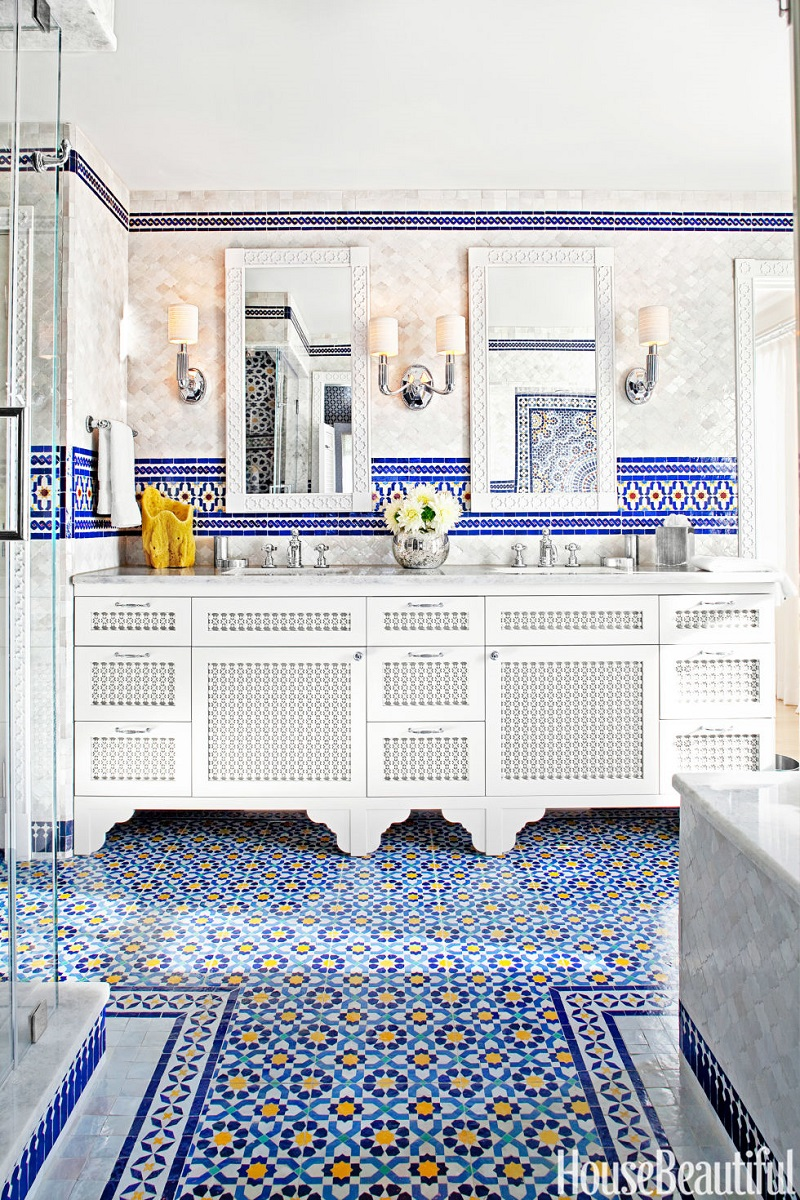 The 15 Best Tiled Bathrooms on Pinterest Blue Moroccan Tile Master Bathroom Floor Backsplash