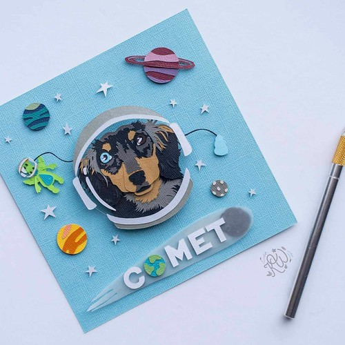 Papercut Dog Portrait by Kathryn Willis - Comet